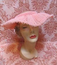 ROMANTIC Vintage 1940s PETAL-PINK RUCHED CHIFFON Open-Crown WIDE BRIM HAT $14.99