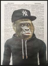 Gorilla Monkey Print Vintage Dictionary Page Wall Art Picture Cool Animal Rapper