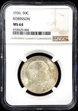 1936 Robinson Commemorative Silver Half Dollar certified MS 64 by NGC!