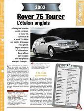 ROVER 75 TOURER 2.5 16V - FICHE 2002 AUTO RENSEIGNEMENT TECHNIQUE COLLECTION