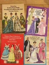 4 Paper Dolls Books, Multiple Sturdy Dolls-Late 1800's, Early 1900's Costumes
