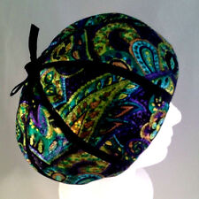 Antique Mr John Young Elegants 1947-1964 Black/Green/Gold Satin Hat Calot