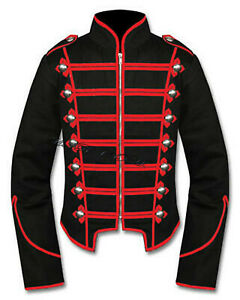 Men's Jacket Military Marching Band Drummer Jacket 100% Cotton Black New