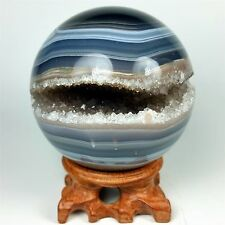 """3.45"""" Polished agate sphere with crystal cluster center w/wood Stand Brazil A227"""
