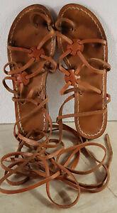 Sandali alla Schiava in Cuoio Naturale Artigianato Salento n. 37 - usato