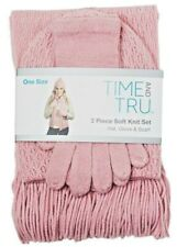 Time and Tru 3 piece soft knit set Pink Hat Beanie, Gloves, and Scarf.