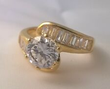 G-Filled Ladies 18ct yellow gold simulated diamond ring engagement wedding dress