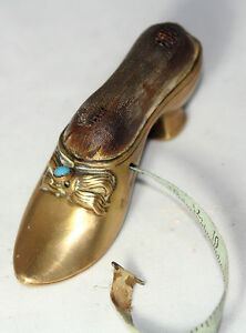 SHOE w/ PEARL tape measure & PIN CUSHION CoMbO  rare!!!! ANTIQUE BRASS