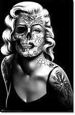 "2X3"" Tattooed Marilyn Monroe Skull Sticker / Decal laptop Grim Reaper Death Goth"