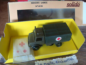 SOLIDO MILITAIRE MERCEDES UNIMOG AMBULANCE REF 6038 1/50 EN BOITE MADE IN FRANCE