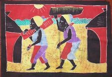 Batik Afrique de Cote d'Ivoire couple au village