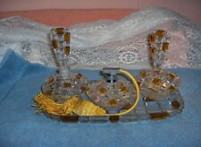 Vintage Lead Crystal Cut Glass Perfume Bottle Vanity Set Yellow Clear Germany