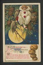 Halloween postcard Winsch 2.1-4 Artist Schmucker Girl clown owls embossed RARE!