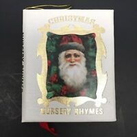 Christmas Nursery Rhymes Mini Book Ornament Golden Sleigh White With Gold Trim