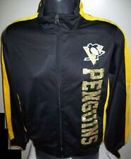 Woman's PITTSBURGH PENGUINS NHL Track Jacket YELLOW w SILVER Lettering LG XL