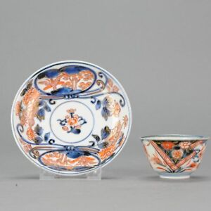 18C Japanese Porcelain Cup Saucer Imari Flowers Bird Antique