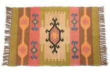 Home Decor Ikat Door Mat Jute Wool Reversible 2x3 Feet Rug Carpet DN-2054