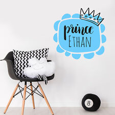 Custom personalizzare Prince Corona Bambino Boy Room Wall Sticker Vivaio Decalcomania Decor