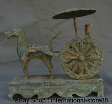 """11"""" Old China Bronze Ware Dynasty Palace Horse Pull Carriage Minister Sculpture"""