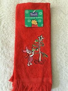 NWT DISNEY POOH Embroidered PIGLET Christmas Tree Red Fingertip Towel by Franco