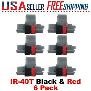 6 Pack - IR-40T Black and Red Calculator Ink Rollers CP13 NR42 IR40T Sharp Casio