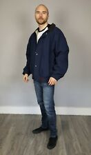 Para hombre Barbour Piel de Topo Cazadora Collar de cuero chaqueta militar azul tamaño grande