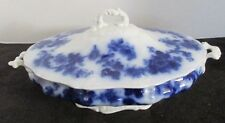 """WOOD & SONS ENGLAND SYDNEY STAFFORDSHIRE FLOW BLUE COVERED SERVING DISH 12""""D"""