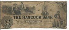 $2 1854 Maine Ellisworth The Hancock Bank Grey overprint G4 #345 Note Rare  R6