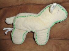 "Lamb Green Trim Cream Ivory 7"" Plush Sheep 2010 Shin An Toy Factory Stuffed Baby"