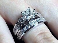 2.75CT PRINCESS CUT DIAMOND WEDDING ENGAGEMENT RING BRIDAL SET 14K WHITE GOLD PD