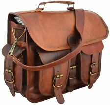 "18"" Leather Bag Men's Vintage Portfolio Messenger Bag Shoulder Laptop Briefcase"
