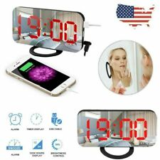 Led Digital Alarm Clock 12/24H+ Snooze Mirror Display Dimmer Mode Usb Charging