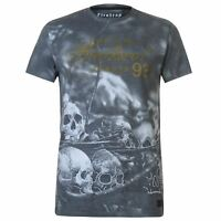 Mens Firetrap Blackseal Sub Skull T Shirt Crew Neck Short Sleeve New