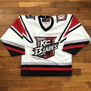 vtg Kansas City KC Blades Hockey Jersey youth boy's S / M small stitched d846p