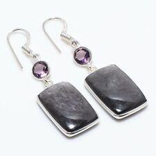 """Ethnic Jewelry Earring 1.97"""" r186 Sun Sheen Obsidian, Amethyst Gemstone Handmade"""