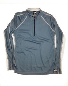 PRANA  Breathe Men's L Blue/Gray L/S 1/4 Zip Pullover Running Athletic Shirt