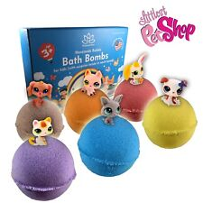 6 Bath Bombs Kit Set for Kids and Teens with PETSHOP Mini Toys inside USA Made