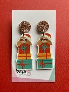 Christmas Dangle Earrings, Sloth Present Stack, Brown Glitter Acrylic, Xmas