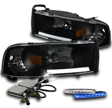 94-01 DODGE RAM LED BAR CRYSTAL BLACK HEAD LIGHTS+BLUE DRIVING DRL+6000K HID SET