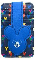 Disney Parks Mickey Balloons Ears Credit Card Holder ID Wallet Slim Blue - NEW
