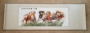 Feng Shui Handwoven Silk Chinese Embroidery - 8 Horses