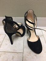High Heel Stilettos JESSICA SIMPSON Ankle Pump Shoes Suede Black- NEW- Sz 7.5