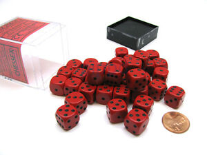 Opaque 12mm D6 Chessex Dice Block (36 Die) - Red with Black Pips