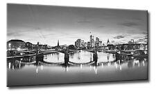 Leinwand Bild Frankfurt Skyline Schwarzweiß Wasser Nachts Fluß Main Städte City