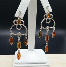 Sterling Silver Genuine Baltic Amber Chandelier Earrings
