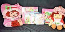 Strawberry Shortcake Lot Plush Doll, Fleece Blanket, Pillow, Game, 2 DVDs, Books