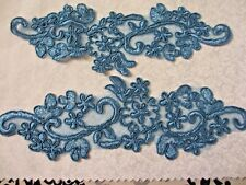 """9 1/2""""  Pair Peacock BLUE Flower Sash Costume  Embroidered  Organza  Appliques"""