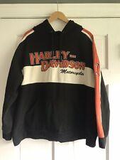 Harley Davidson Black Orange Pullover Hoodie Sweatshirt Mens XL