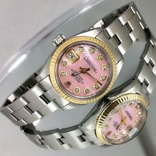 Rolex Oyster Perpetual Date 6916 Stainless Lady Watch Rolex MOP Diamond Dial