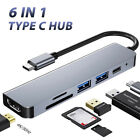 6 in 1 USB Hub Type-C Multiport Card Reader Adapter 4K HDMI  For Notebook Pro'